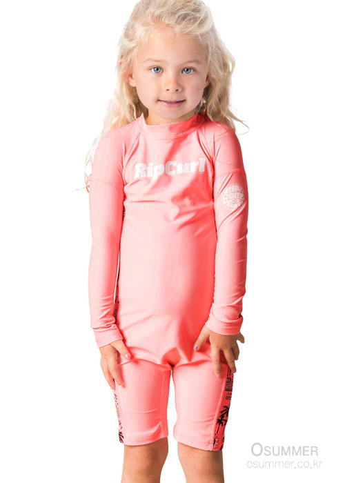 립컬 키즈 전신 래쉬가드/RIPCURL GIRLS MINI LS UV SPRINGSUITS(WLY8DF)_0165 (PEACH)_NRC901PE