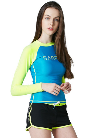 [5%쿠폰] 배럴 우먼 이브 래쉬가드 #NB6606YB / AQUA BLUE/N.YELLOW BARREL_ WMS EVE RASHGUARD