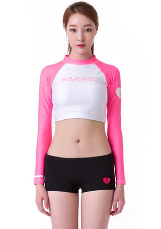 [5%쿠폰] 배럴 우먼 OG 크롭 래쉬가드 #NB6608W7 / WHITE/PINK BARREL_ WMS OG CROP RASHGUARD