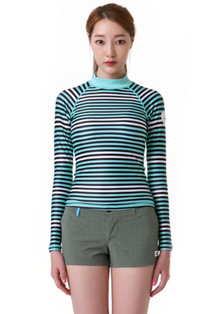 [5%쿠폰] 배럴 우먼 소피아 래쉬가드 #NB6514MN / MINT STRIPE BARREL_ WMS SOFIA RASHGUARD