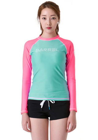[5%쿠폰] 배럴 우먼 이브 래쉬가드 #NB6515QG / MINT/PINK BARREL_ WMS EVE RASHGUARD
