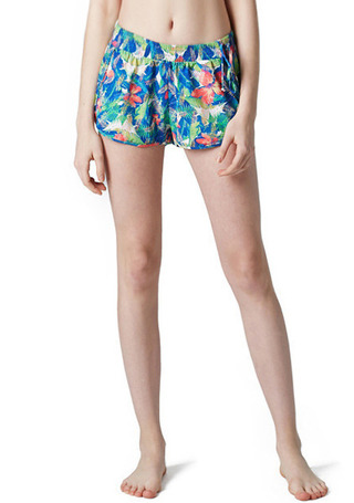 [5%쿠폰] 배럴 우먼 비키니 커버-업 숏츠 #OB6608GR / TROPICAL (GREEN) BARREL_ WMS BIKINI COVER UP SHORTS