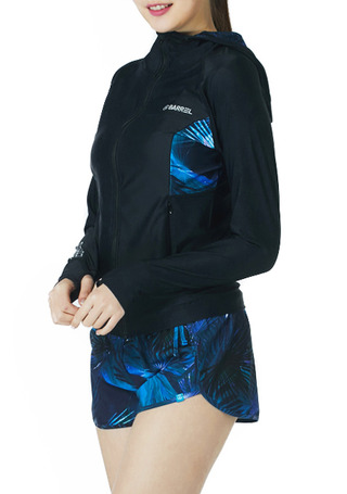 [5%쿠폰] 배럴 우먼 카렌 후드 집업 래쉬가드 #NB671650 / BLACK/JUNGLE NIGHT BARREL_ WMS KAREN HOOD ZIP-UP RASHGUARD