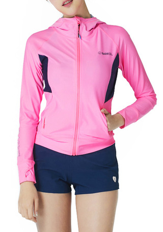 [5%쿠폰] 배럴 우먼 카렌 후드 집업 래쉬가드 #NB6716PK / NEON PINK/NAVY BARREL_ WMS KAREN HOOD ZIP-UP RASHGUARD