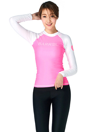 [5%쿠폰] 배럴 우먼 이브 래쉬가드 #NB6709W7 / NEON PINK/WHITE BARREL_ WMS EVE RASHGUARD