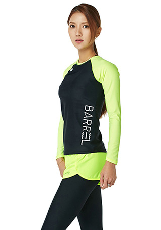 [5%쿠폰] 배럴 우먼 사이드 릴렉스 핏 래쉬가드 #NB6715ZI / BLACK/NEON YELLOW BARREL_ WMS SIDE RELAX FIT RASHGUARD