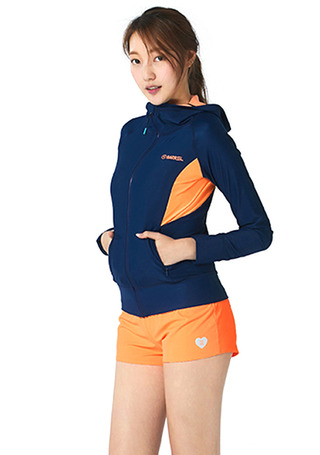 [5%쿠폰] 배럴 우먼 카렌 후드 집업 래쉬가드 #NB6716NV / NAVY/PEACH BARREL_ WMS KAREN HOOD ZIP-UP RASHGUARD