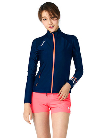 [5%쿠폰] 배럴 우먼 셸리 릴렉스 핏 집업 래쉬가드 #NB6721NV / NAVY/PEACH BARREL_ WMS SHELLY RELAX FIT ZIP UP RASHGUARD