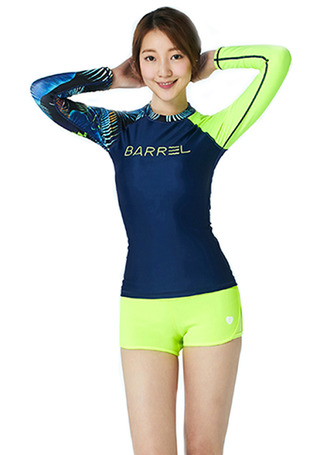[5%쿠폰] 배럴 우먼 ODD 래쉬가드 #NB6711QD / NAVY/NEON TROPICAL/NEON YELLOW BARREL_ WMS ODD RASHGUARD