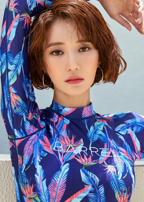 [5%쿠폰] 배럴 우먼 크롭 패턴 래쉬가드 #NB6805P8 / NEON PINK FLOWER BARREL WMS CROP PATTERN RASHGUARD
