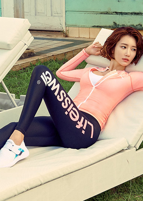 [5%쿠폰] 배럴 우먼 슬로건 그라데이션 워터 레깅스 #OB6831BN / BLACK/NEON PINK BARREL WMS SLOGAN GRADATION WATER LEGGINGS
