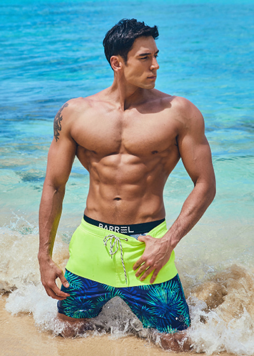 [5%쿠폰] 배럴 맨 비치 패턴 보드숏 #OB6836Y2 / NEON YELLOW/GREEN SPARKLE BARREL_ BEACH PATTERN PT BOARDSHORTS