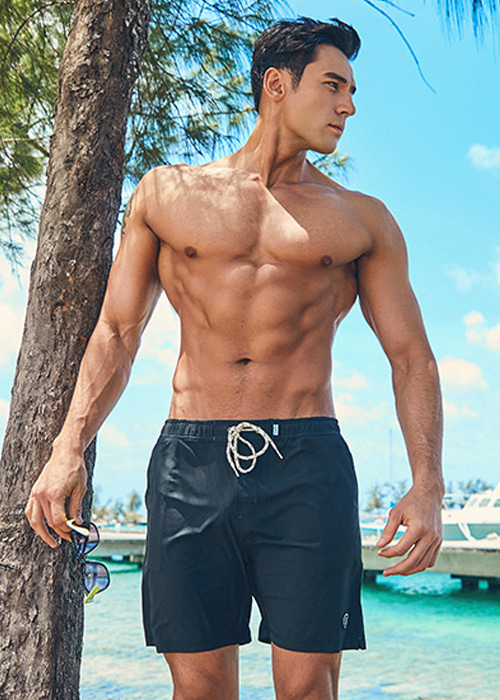 [5%쿠폰] 배럴 맨 비치 보드숏 #OB6727BK / BLACK BARREL_ BEACH BOARDSHORTS