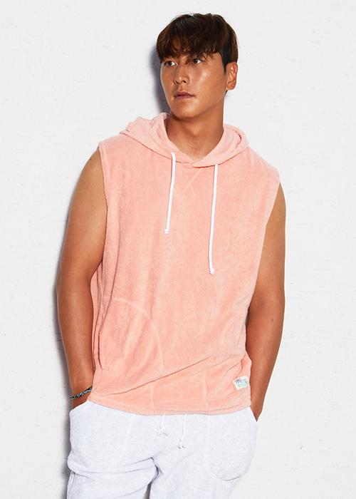 [5%쿠폰] 배럴 유니섹스 슬리브리스 후디 SB6802PE / PEACH BARREL TERRY SLEEVELESS HOODIE BCHUHDT001