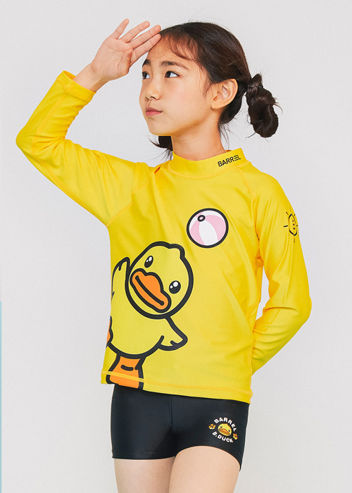 배럴 키즈 비덕 페이스 래쉬가드/BARREL KIDS B.DUCK FACE RASHGUARD(BWIKRGT004)_YELLOW_NB6973YE