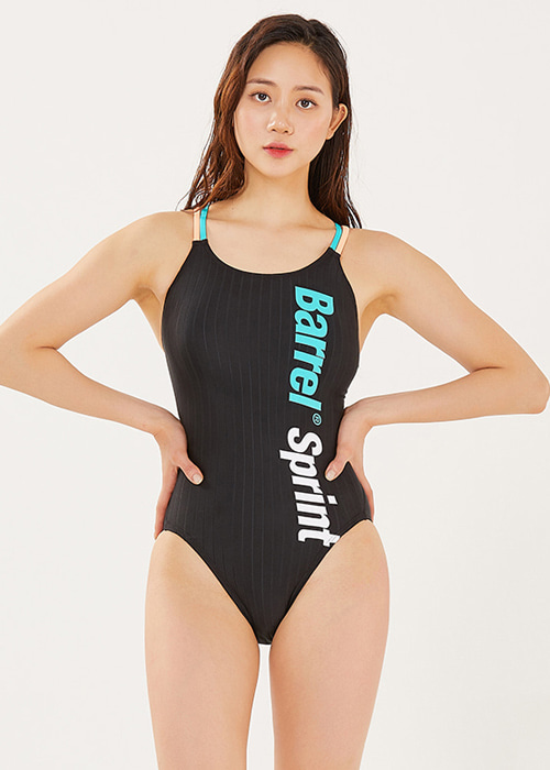 배럴 우먼 트레이닝 ODD 시저스-백 스윔슈트_BARREL(B921)_BWIWSWO025_WMS TRAINING ODD SCISSORS BACK SWIMSUIT_TURQUOISE/PEACH_NB69A2PE_SQB69A2PE