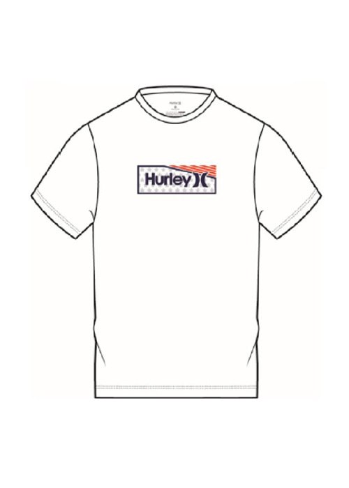 헐리 남성 루즈핏 래쉬가드/HURLEY ONE & ONLY STARS STRIPES SURF SHORT SLEEVE CT1278-(100) WHITE_NHU004WH
