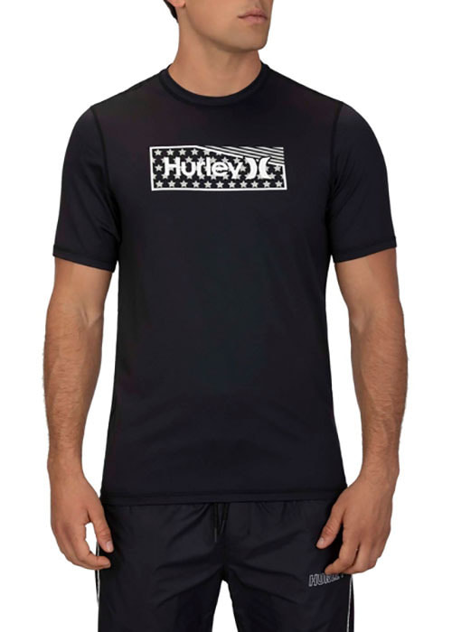 헐리 남성 루즈핏 래쉬가드/HURLEY ONE & ONLY STARS STRIPES SURF SHORT SLEEVE CT1278-(010) BLACK_NHU004BK