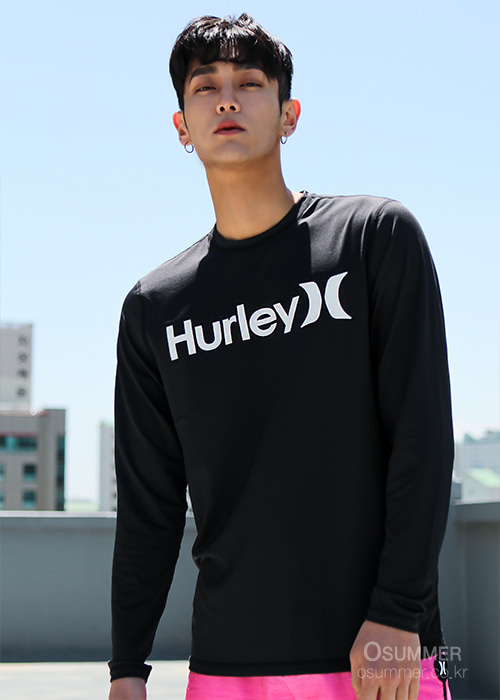 헐리 남성 루즈핏 래쉬가드/HURLEY ONE & ONLY SURF SHIRT LONG SLEEVE 894629-(010) BLACK/(WHITE)_NHU001BE/S7HU001BE