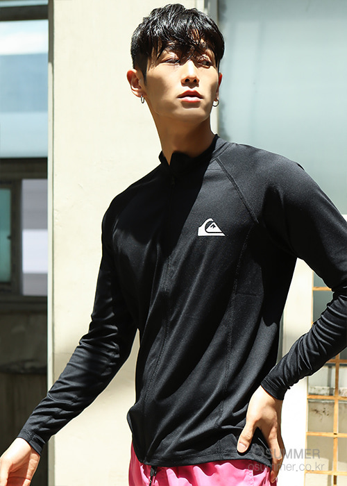 퀵실버 남성 집업 래쉬가드/QUIKSILVER ONE DAY5 ZIP-UP REGULAR FIT KQS201-01-BLACK_NQS001BK_QA11RZ116/S7QS001BK