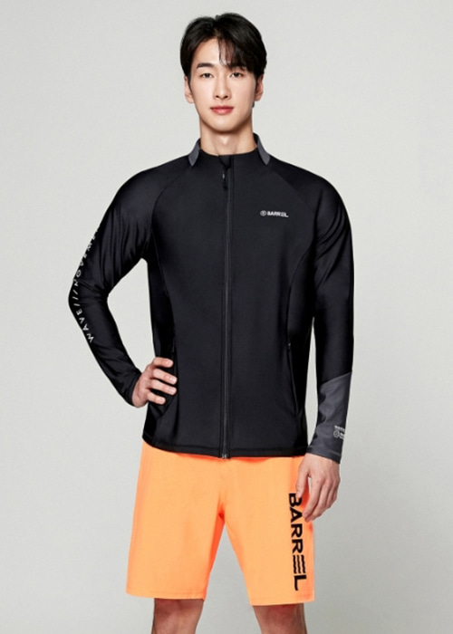 5%쿠폰/배럴 맨 페리 집업 래쉬가드_BARREL(A050)_BG2MWRG10_PERRY ZIP UP RASHGUARD_BLACK_S7B6019BK