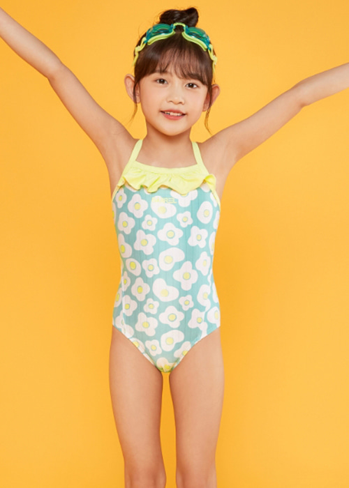 5%쿠폰/배럴 키즈 트레이닝 프릴 V백 스트랩 스윔슈트_BARREL(C004)_BG2KSSW44_KIDS TRAINING FRILL V BACK STRAP SWIMSUIT_EGGFLOWER_SQB6006YB