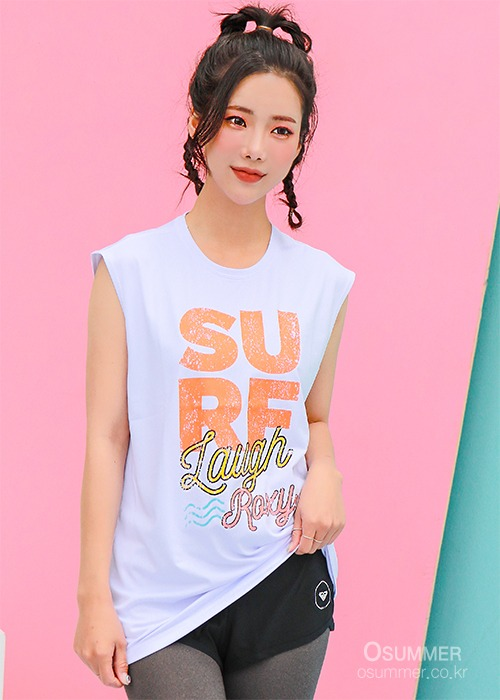 록시 여성 슬리브리스 루즈핏 래쉬가드/ROXY WMS SURF LAUGH MUSCLE_KRX201-06-WBB0 (BRIGHT WHITE)_NRY007WH_RA21RE210/S8RY007WH