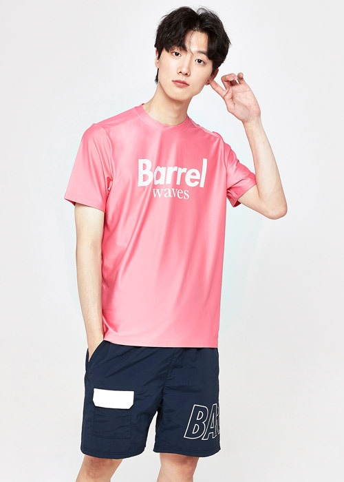 5%쿠폰/배럴 유니섹스 피크 숏 슬리브 래쉬가드_BARREL(A059)_BG2YWRG42_PEAK SHORT SLEEVE RASHGUARD_ROSE PINK_S7B6021PK